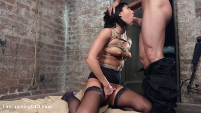 Photo number 7 from Petite Brunette Pussy Pounding in Hardcore Bondage shot for The Training Of O on Kink.com. Featuring Sabrina Banks and Mr. Pete in hardcore BDSM & Fetish porn.