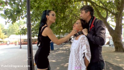 Photo number 1 from Slut with No Manners Gets the Cops Called While Sucking Dicks Outside shot for Public Disgrace on Kink.com. Featuring Fetish Liza, Steve Holmes, Nomi Melone and RAM in hardcore BDSM & Fetish porn.