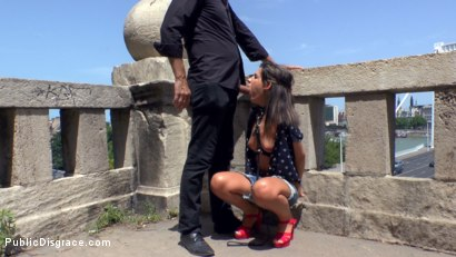 Photo number 2 from Budapest Babe Gets Bound and Brutalized  shot for Public Disgrace on Kink.com. Featuring Steve Holmes, Tina Kay, RAM and Bella Beretta in hardcore BDSM & Fetish porn.
