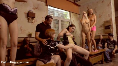 Photo number 9 from Tina Kay Gets Put in Her Place shot for Public Disgrace on Kink.com. Featuring Steve Holmes, Frank Gun, Tina Kay and Zara DuRose in hardcore BDSM & Fetish porn.