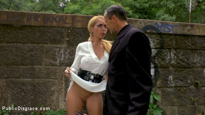 Photo number 1 from Busty Blonde Isabella Clark Public Double Penetration - Part 2 shot for Public Disgrace on Kink.com. Featuring Steve Holmes, Frank Gun and Isabella Clark in hardcore BDSM & Fetish porn.