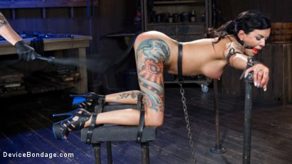 Photo number 12 from Tattooed Masochist In Grueling Bondage, Tormented and Orgasm Overload!! shot for Device Bondage on Kink.com. Featuring Lola Luscious and The Pope in hardcore BDSM & Fetish porn.