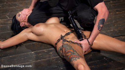 Photo number 2 from Tattooed Masochist In Grueling Bondage, Tormented and Orgasm Overload!! shot for Device Bondage on Kink.com. Featuring Lola Luscious and The Pope in hardcore BDSM & Fetish porn.