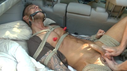 Photo number 4 from Ripped stud with a big cock carjacked and edged in the wilderness shot for Men On Edge on Kink.com. Featuring Damien Michaels in hardcore BDSM & Fetish porn.