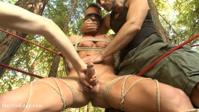 Ripped stud with a big cock carjacked and edged in the wilderness