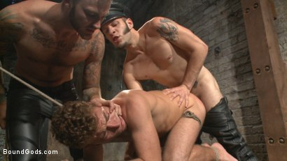 "Photo number 9 from ""Take the pain & suck that cock!"" shot for Bound Gods on Kink.com. Featuring Christian Wilde, Wolf Hudson and Alex Greene in hardcore BDSM & Fetish porn."