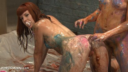 Photo number 3 from Sploshing: Sexy Sensation with Food for Play and Pain shot for Kink University on Kink.com. Featuring Barbary Rose, Elizabeth Thorn and Mistress Shae Flanigan in hardcore BDSM & Fetish porn.