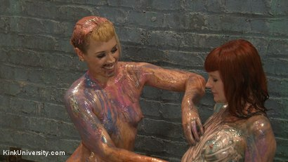 Photo number 5 from Sploshing: Sexy Sensation with Food for Play and Pain shot for Kink University on Kink.com. Featuring Barbary Rose, Elizabeth Thorn and Mistress Shae Flanigan in hardcore BDSM & Fetish porn.