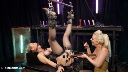 Photo number 7 from Hot MILF Simone Sonay submits to Latex Electo Dominatrix Cherry Torn shot for Electro Sluts on Kink.com. Featuring Cherry Torn and Simone Sonay in hardcore BDSM & Fetish porn.