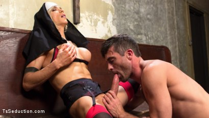 Photo number 4 from Bad Habits: Pray to her cock! shot for TS Seduction on Kink.com. Featuring Lance Hart and Nina Lawless in hardcore BDSM & Fetish porn.