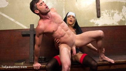 Photo number 7 from Bad Habits: Pray to her cock! shot for TS Seduction on Kink.com. Featuring Lance Hart and Nina Lawless in hardcore BDSM & Fetish porn.