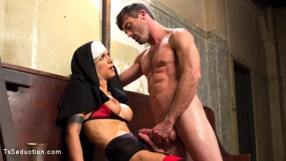 Photo number 15 from Bad Habits: Pray to her cock! shot for TS Seduction on Kink.com. Featuring Lance Hart and Nina Lawless in hardcore BDSM & Fetish porn.