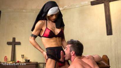 Photo number 13 from Bad Habits: Pray to her cock! shot for TS Seduction on Kink.com. Featuring Lance Hart and Nina Lawless in hardcore BDSM & Fetish porn.