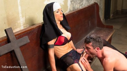 Photo number 14 from Bad Habits: Pray to her cock! shot for TS Seduction on Kink.com. Featuring Lance Hart and Nina Lawless in hardcore BDSM & Fetish porn.
