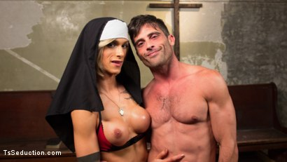 Photo number 5 from Bad Habits: Pray to her cock! shot for TS Seduction on Kink.com. Featuring Lance Hart and Nina Lawless in hardcore BDSM & Fetish porn.