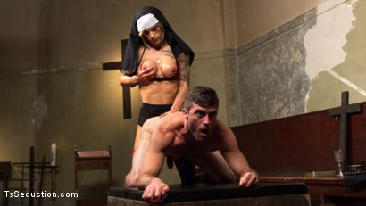 Photo number 10 from Bad Habits: Pray to her cock! shot for TS Seduction on Kink.com. Featuring Lance Hart and Nina Lawless in hardcore BDSM & Fetish porn.
