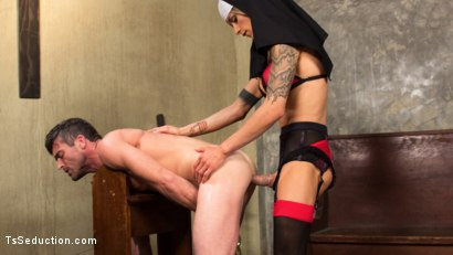 Photo number 2 from Bad Habits: Pray to her cock! shot for TS Seduction on Kink.com. Featuring Lance Hart and Nina Lawless in hardcore BDSM & Fetish porn.