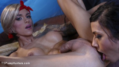Photo number 6 from Two Hot Big Tit Babes get Spooked at Camp Beaver Falls shot for TS Pussy Hunters on Kink.com. Featuring Nina Lawless and Beretta James in hardcore BDSM & Fetish porn.