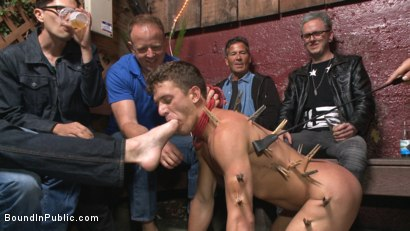 Photo number 8 from Go-go dancer serves his bar with mouth & ass for SF Pride shot for Bound in Public on Kink.com. Featuring Trenton Ducati, Jessie Colter and Alexander Gustavo in hardcore BDSM & Fetish porn.
