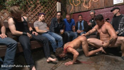 Photo number 5 from Go-go dancer serves his bar with mouth & ass for SF Pride shot for Bound in Public on Kink.com. Featuring Trenton Ducati, Jessie Colter and Alexander Gustavo in hardcore BDSM & Fetish porn.