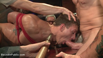 Photo number 9 from Go-go dancer serves his bar with mouth & ass for SF Pride shot for Bound in Public on Kink.com. Featuring Trenton Ducati, Jessie Colter and Alexander Gustavo in hardcore BDSM & Fetish porn.