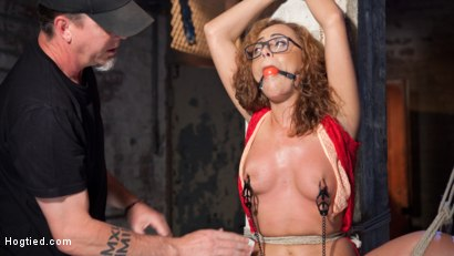 Photo number 9 from Brutal Ecstasy in Extreme Bondage shot for Hogtied on Kink.com. Featuring Roxanne Rae and The Pope in hardcore BDSM & Fetish porn.
