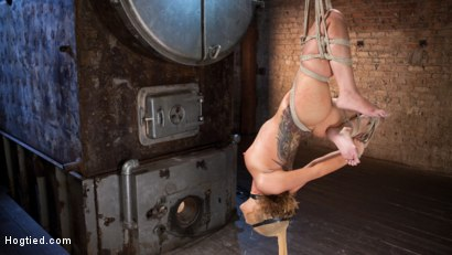 Photo number 4 from Brutal Ecstasy in Extreme Bondage shot for Hogtied on Kink.com. Featuring Roxanne Rae and The Pope in hardcore BDSM & Fetish porn.