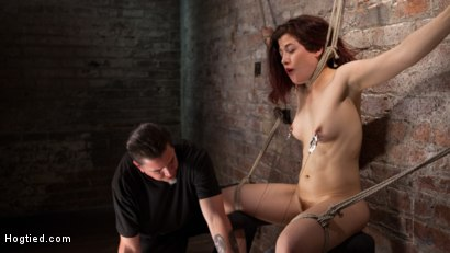 Photo number 12 from Sexy Pain Slut in Extreme Bondage, Tormented, Punished, and Made to Cum Against Her Will shot for Hogtied on Kink.com. Featuring Ingrid Mouth and The Pope in hardcore BDSM & Fetish porn.