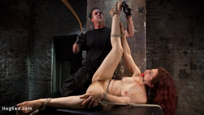 Photo number 2 from Sexy Pain Slut in Extreme Bondage, Tormented, Punished, and Made to Cum Against Her Will shot for Hogtied on Kink.com. Featuring Ingrid Mouth and The Pope in hardcore BDSM & Fetish porn.