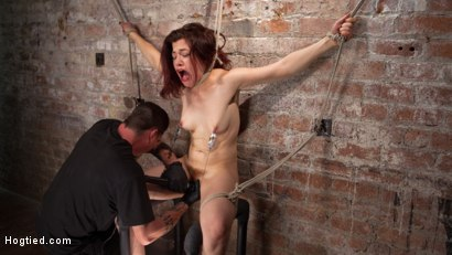 Photo number 4 from Sexy Pain Slut in Extreme Bondage, Tormented, Punished, and Made to Cum Against Her Will shot for Hogtied on Kink.com. Featuring Ingrid Mouth and The Pope in hardcore BDSM & Fetish porn.