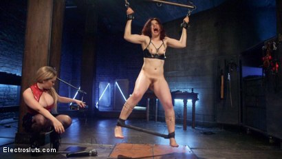 Photo number 1 from Lesbian Porn Crush: Predicament bondage, fisting & anal electrosex!  shot for Electro Sluts on Kink.com. Featuring Ingrid Mouth and Aiden Starr in hardcore BDSM & Fetish porn.