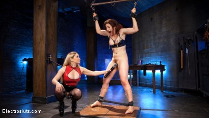 Photo number 2 from Lesbian Porn Crush: Predicament bondage, fisting & anal electrosex!  shot for Electro Sluts on Kink.com. Featuring Ingrid Mouth and Aiden Starr in hardcore BDSM & Fetish porn.