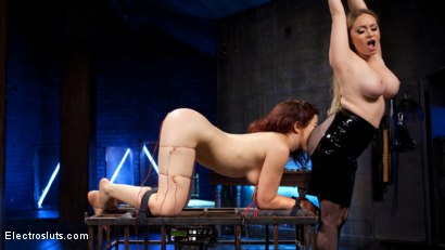 Photo number 8 from Lesbian Porn Crush: Predicament bondage, fisting & anal electrosex!  shot for Electro Sluts on Kink.com. Featuring Ingrid Mouth and Aiden Starr in hardcore BDSM & Fetish porn.