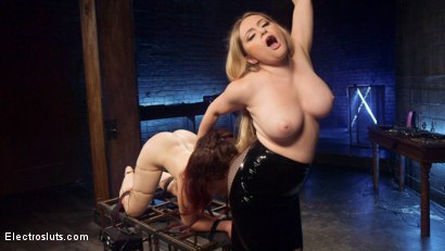 Photo number 6 from Lesbian Porn Crush: Predicament bondage, fisting & anal electrosex!  shot for Electro Sluts on Kink.com. Featuring Ingrid Mouth and Aiden Starr in hardcore BDSM & Fetish porn.