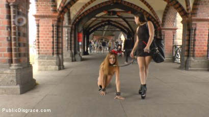 Photo number 6 from Filthy Lullu Gun Gets Fully Naked and Barefoot on Dirty Streets shot for Public Disgrace on Kink.com. Featuring Juliette March, Jason Steel, Lullu Gun  and Steve Holmes in hardcore BDSM & Fetish porn.