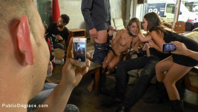 Photo number 23 from Filthy Lullu Gun Gets Fully Naked and Barefoot on Dirty Streets shot for Public Disgrace on Kink.com. Featuring Juliette March, Jason Steel, Lullu Gun  and Steve Holmes in hardcore BDSM & Fetish porn.