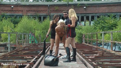Photo number 11 from Cheap Whore Sells Her Gaping Hole to the Lowest Bidder shot for Public Disgrace on Kink.com. Featuring Juliette March, Mona Wales, Jason Steel and Layla Price in hardcore BDSM & Fetish porn.