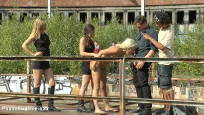 Photo number 13 from Cheap Whore Sells Her Gaping Hole to the Lowest Bidder shot for Public Disgrace on Kink.com. Featuring Juliette March, Mona Wales, Jason Steel and Layla Price in hardcore BDSM & Fetish porn.