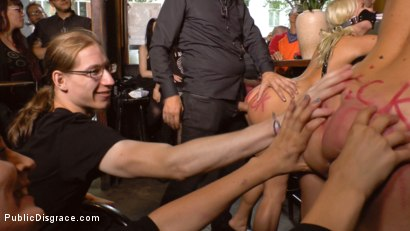 Photo number 12 from Two Busty Bombshell Blondes Disgraced Like Dogs by Mona Wales shot for Public Disgrace on Kink.com. Featuring Mona Wales, Manu Magnum, Layla Price and Steve Holmes in hardcore BDSM & Fetish porn.