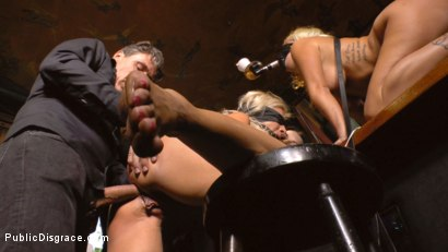Photo number 17 from Two Busty Bombshell Blondes Disgraced Like Dogs by Mona Wales shot for Public Disgrace on Kink.com. Featuring Mona Wales, Manu Magnum, Layla Price and Steve Holmes in hardcore BDSM & Fetish porn.