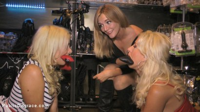 Photo number 5 from Two Busty Bombshell Blondes Disgraced Like Dogs by Mona Wales shot for Public Disgrace on Kink.com. Featuring Mona Wales, Manu Magnum, Layla Price and Steve Holmes in hardcore BDSM & Fetish porn.