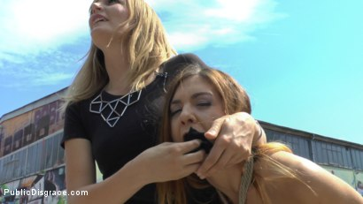 Photo number 4 from Party Girl Gets Pasta with a Side of Balls in her Mouth  shot for Public Disgrace on Kink.com. Featuring Mona Wales, Conny Dachs and Lullu Gun in hardcore BDSM & Fetish porn.