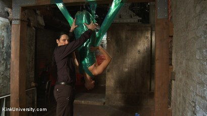 Photo number 11 from Plastic Wrap Suspension shot for Kink University on Kink.com. Featuring London River and Simon Blaise in hardcore BDSM & Fetish porn.