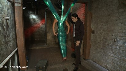Photo number 10 from Plastic Wrap Suspension shot for Kink University on Kink.com. Featuring London River and Simon Blaise in hardcore BDSM & Fetish porn.