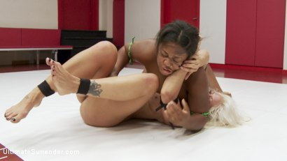 Photo number 4 from Extreme Wrestling causes one wrestler to quit after 2 rounds shot for Ultimate Surrender on Kink.com. Featuring Yasmine Loven and Holly Heart in hardcore BDSM & Fetish porn.