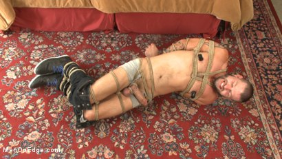 Texan stud receives his first edging in bondage