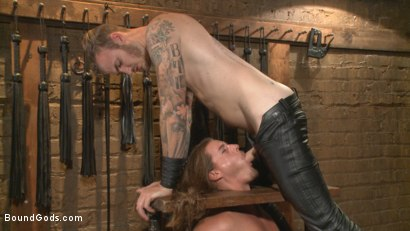 Photo number 6 from Guy next door held in a stock, facefucked and flogged shot for Bound Gods on Kink.com. Featuring Kip Johnson and Christian Wilde in hardcore BDSM & Fetish porn.