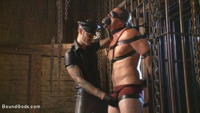 Photo number 2 from Guy next door held in a stock, facefucked and flogged shot for Bound Gods on Kink.com. Featuring Kip Johnson and Christian Wilde in hardcore BDSM & Fetish porn.