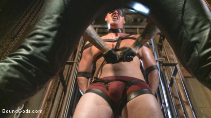Photo number 4 from Guy next door held in a stock, facefucked and flogged shot for Bound Gods on Kink.com. Featuring Kip Johnson and Christian Wilde in hardcore BDSM & Fetish porn.