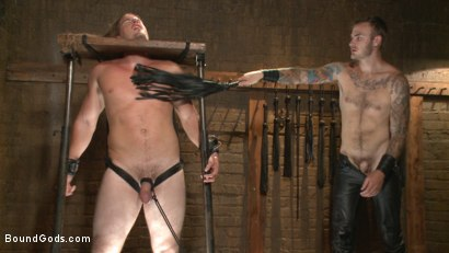 Photo number 9 from Guy next door held in a stock, facefucked and flogged shot for Bound Gods on Kink.com. Featuring Kip Johnson and Christian Wilde in hardcore BDSM & Fetish porn.